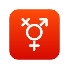 Transgender sign icon digital red