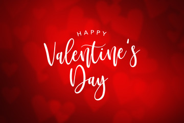 Happy Valentine's Day Holiday Text Over Red Gradient Heart Background