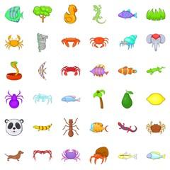 Snake icons set, cartoon style