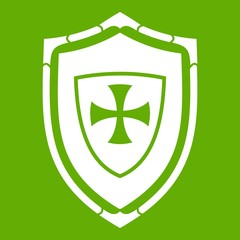 Shield with cross icon green