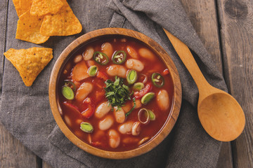 tomato soup with white beans and vegetables