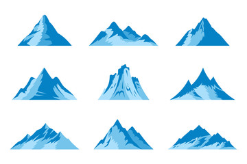 Vector snow mountains icons