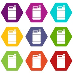Jerrycan icon set color hexahedron