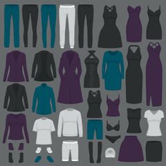 vector illustration of  set women fashion clothes, dress, shirt, shoes, jeans, jacket collection