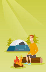 Young caucasian white man sitting on a log near campfire on the background of camping site with tent. Travelling man resting near campfire in the campsite. Vector cartoon illustration. Vertical layout