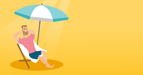Young caucasian white man sitting on the chaise-longue under beach umbrella. Happy man resting on the chaise-longue with folded arms behind his head. Vector cartoon illustration. Horizontal layout.