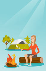 Caucasian white girl roasting marshmallows over campfire on the background of camping site with tent. Girl sitting near campfire and roasting marshmallows. Vector cartoon illustration. Vertical layout