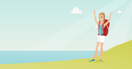 Young caucasian white tourist with a backpack standing on the cliff with raised hands and enjoying the scenery. Happy tourist hiking in the mountains. Vector cartoon illustration. Horizontal layout.