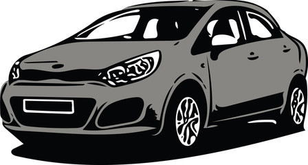 Grey Sportscar Vehicle Silhouette