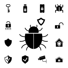 shield icon with a bug. Set of cybersecurity icons. Signs, outline symbols collection, simple icons for websites, web design, mobile app, info graphics