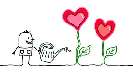 Cartoon Gardener with Growing Hearts