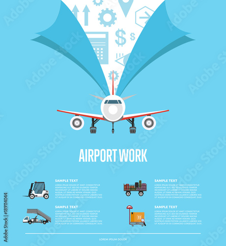 Airport work poster for commercial airline  World flying