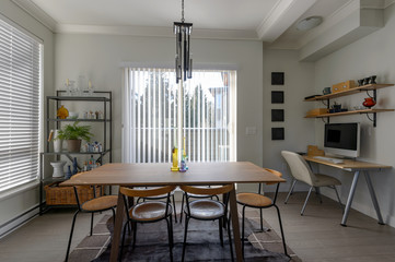Luxury dining room and small office. Interior design.