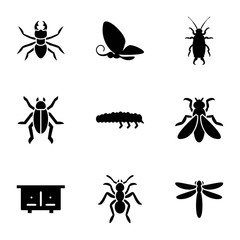 Insect icons. set of 9 editable filled insect icons