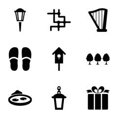 Decorative icons. set of 9 editable filled decorative icons