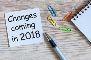 A note Changes coming in 2018. With office or school supplies
