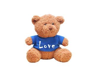 "Brown teddy bear wear blue shirt. Typo wording ""Love"" on shirt. Relationship concept"