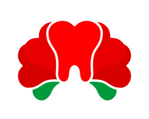 red flower tooth teeth dent dental dentist image icon
