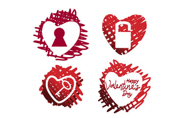 Happy Valentine's Day Template Vector Set
