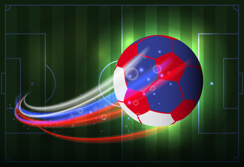 Russian soccer ball isolated with abstract color red, white, blue.