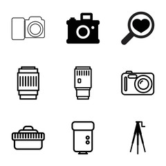 Lens icons. set of 9 editable filled and outline lens icons