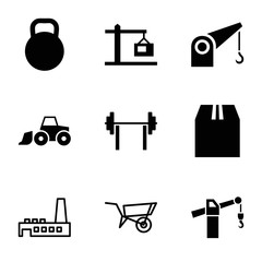 Heavy icons. set of 9 editable filled and outline heavy icons