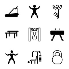 Workout icons. set of 9 editable filled and outline workout icons