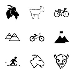 Mountain icons. set of 9 editable filled and outline mountain icons