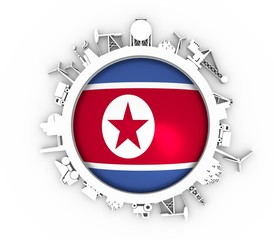 Circle with industry relative silhouettes. Objects located around the circle. Industrial design background. Flag of the North Korea in the center. 3D rendering