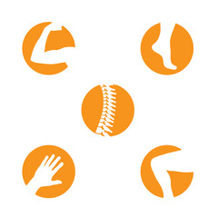 Orthopedics Bone Sports Injury Icons Set of orthopedics icons with Spine, knee, hand, foot, and arm icon set