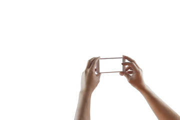 Hand of man holding smartphone selfie camera.Concept technology,web,social.