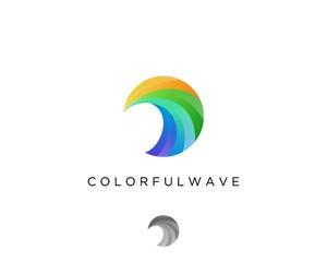colorful wave logo design template
