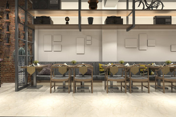 3d rendering loft wood luxury hotel reception and cafe lounge restaurant
