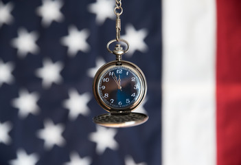 Stopwatch and American Flag, Shut Down and Decision Making Time