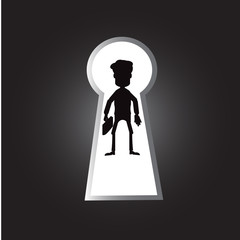 Keyhole success and business man for exit way or Keyhole with illustration design or keyhole success symbol flat icon for apps and websites