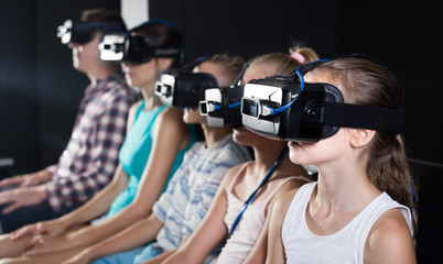Parents with children satisfied video in room virtual reality