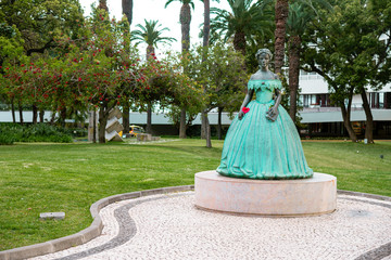 Statue of the former Empress Elisabeth of Austria in a park in Funchal, Madeira.