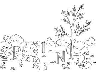 Spring graphic black white landscape tree sketch illustration vector