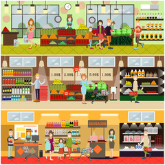 People making purchases vector flat poster set
