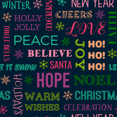 Colorful christmas and new year typography seamless pattern background