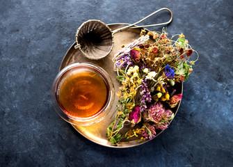 Dried herbs and flowers and herbal tea. Herbal medicine