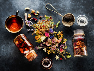 Various medicinal herbs and flowers and herbal tea