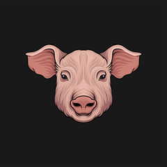 Head of pig, face of of farm animal hand drawn vector Illustration