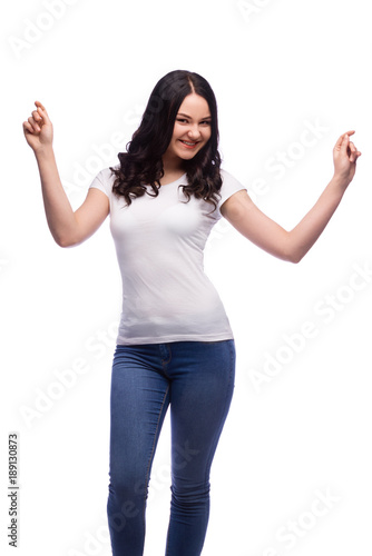 portrait of young excited woman in blank white t shirt with