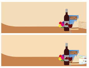 2 banners for Passover Jewish Holiday. wine, Haggadah and flowers