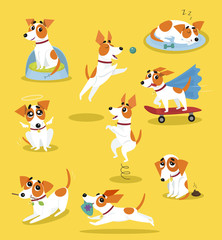 Cute jack russell terrier set, funny pet dog character in different situations cartoon vector Illustrations