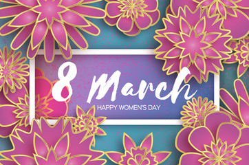Pink 8 March. Gold Purple Happy Women s Day. Mother s Day. Paper cut Floral Greeting card. Origami flower. Text. Rectangle frame. Spring blossom on blue sky. Seasonal holiday. Modern decoration.
