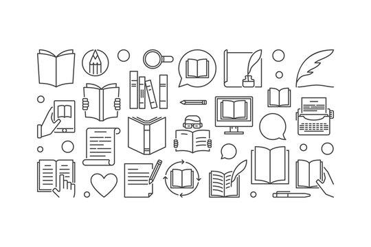 Literature vector illustration or line banner