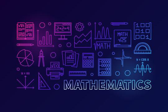 Vector mathematics colorful modern line illustration