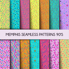 Collection of Swatches Memphis Seamless Backgrounds 80s, 90s